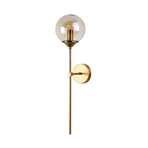 ZTKBG Lámpara de Pared Industrial, lámpara de Pared de Vidrio de Vidrio de Vidrio montado 1 luz con Brazo Largo para baño, Pasillo, Escalera, Dormitorio, Sala de Estar (Color : Amber)