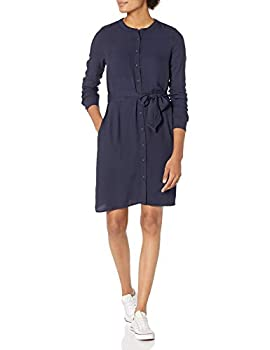 Amazon Essentials Women s Long-Sleeve Banded Collar Shirt Dress Navy X-Large
