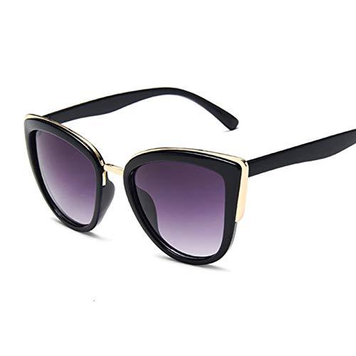 AleXanDer1 Gafas de Sol Gafas de Sol Señoras Moda Gafas de Sol Femenina Leopardo Imprimir Gato Ojo Negro Gradiente (Lenses Color : Black Gray)