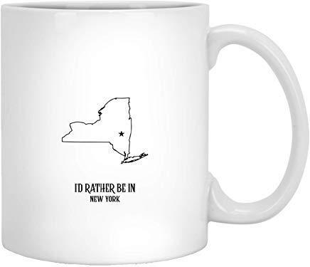 N\A Prefiero Estar en el Estado de Newyork - Proud America Regalos Divertidos Idea Tazas de café navideñas Novedad Taza de té de cerámica Blanca de 11 onzas
