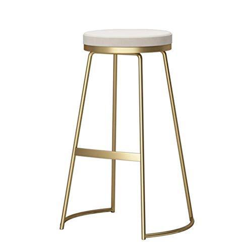 LLT Heces práctica moderna Banqueta de bar, Cocina bar para desayunos Comedor Marco de la silla del oro metálico Contador seguridad suave cojín del asiento de la carga máxima de 130 Kg,Blanco,75cm