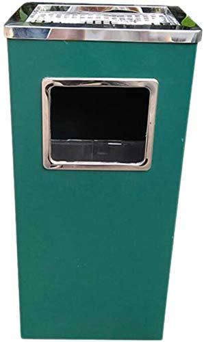Vierkant afvalbakken met roestvrijstalen binnenkorf Grote afvalbakken met asbakken buiten/afvalbakken en recycling bins compostbakken van papier, Grootte: 11,82 * 9,45 * 24.03inch, Kleur: Groen