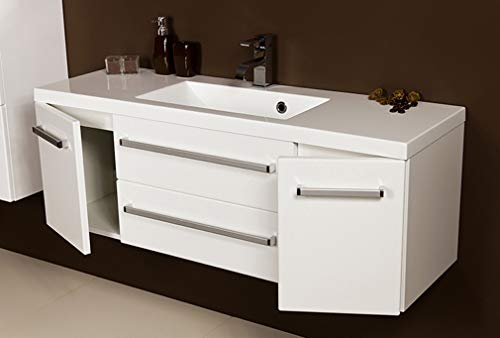 Quentis Badmöbel Genua, Breite 120 cm, Waschbecken und Unterschrank, weiß glänzend, 2 Türen, 2 Schubladen
