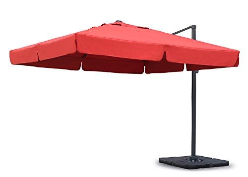 Sekey® Sonnenschirm 300 x 300 cm Aluminium-Sonnenschirm Marktschirm Gartenschirm Terrassenschirm Ampelschirm Kurbelschirm rot Quadratisch Sonnenschutz UV50+ 23kg
