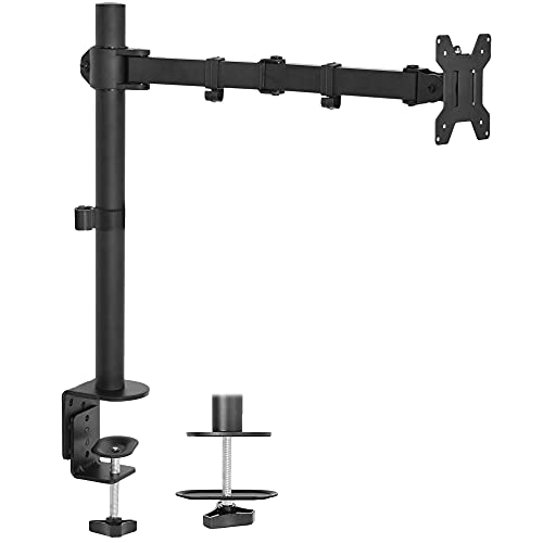 VIVO Single Monitor Desk Mount, Fully Adjustable Monitor Arm Stand with Clamp and Grommet Base, Tilt, Swivel, Rotation - Holds 1 Screen up to 22lbs with VESA 75x75mm or 100x100mm, Black, STAND-V001