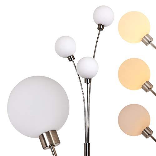 Stehlampe Bernado 3-flammig dimmbar - Deckenfluter mit 3 Echtglaskugeln - G9-Fassung 28 Watt - moderne Standleuchte Wohnzimmer - indirektes, warmweißes Licht - Stehleuchte Wohnzimmer mit 3 Glaskugeln