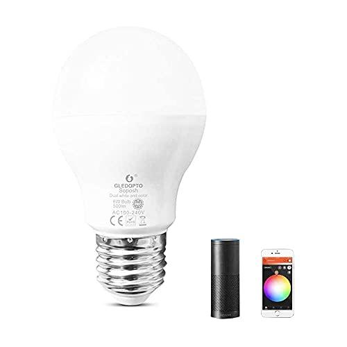 Gmasuber Bombilla LED ZigBee inteligente E27/E26 6 W RGB que cambia de color regulable, bombilla LED ajustable compatible con Alexa,...