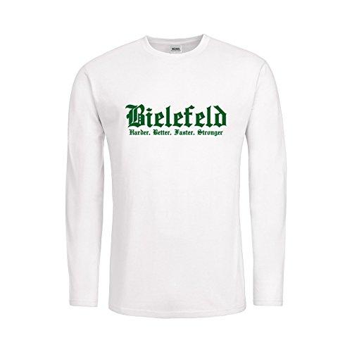 MDMA Kids T-Shirt Longsleeve Bielefeld Harder, Better, Faster, Stronger N14-mdma-ktls00293-266 Textil white / Motiv gruen Gr. 116