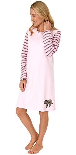 NORMANN WÄSCHEFABRIK Damen Nachthemd Langarm Kuschelinterlock - süsses Faultier Tiermotiv - auch in Übergrössen, Farbe:rosa, Größe2:52/54
