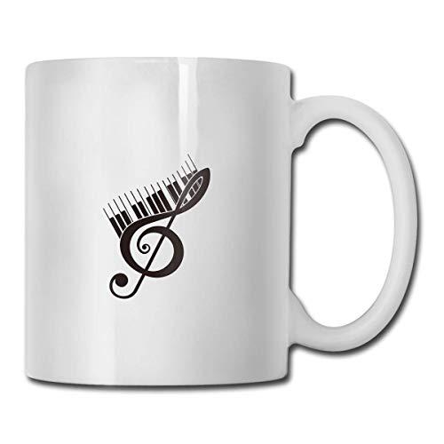 Taza de teclas de piano de clave de sol, taza de café para bebidas calientes, taza de gres, taza de café de cerámica, taza de té de 11 oz, regalo divertido, taza de té y café
