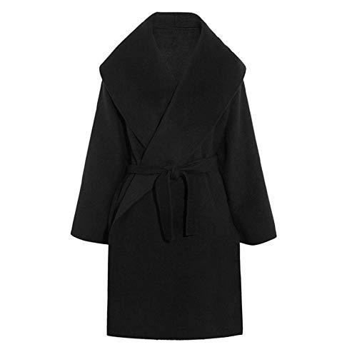 NOBRAND Chaquetas y Abrigos para Mujer Cinturón Medio-Largo Abrigo de Lana Cinturón de Solapa de Gran tamaño para Mujer Mezcla de Lana de Cachemira Cinturón Trench Coat Outwear Chaqueta