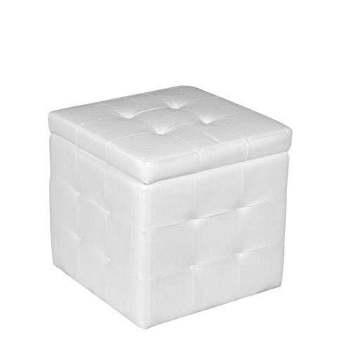 SANYAN LIMITED Pouf Contenitore Bianco Prezzi Bassi, 45 x 47 x 45 cm
