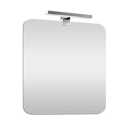 Specchio bagno con luce Led 70x90 cm, installazione reversibile, lampada 30 cm a risparmio INCLUSA (Luce Naturale)