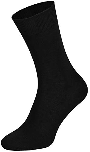 Tobeni 10 Paires Chaussettes Homme sans Caoutchouc 100% Coton Couleur Noir Taille 39-42