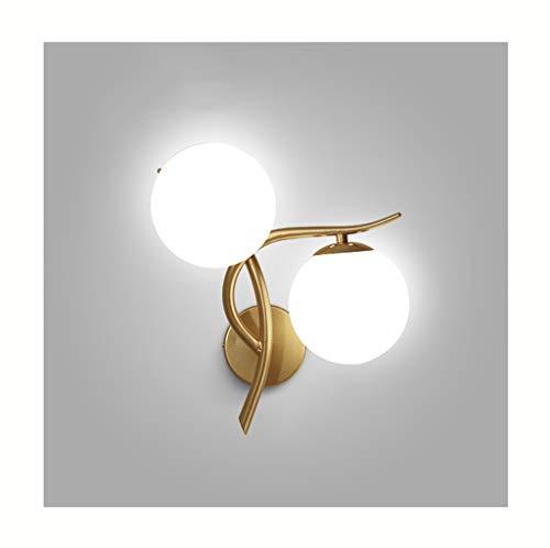 & Appliques murales Applique LED en fer forgé boule de verre nuit lumière salon chambre mur lampes (Couleur : Silver-Lumière chaude)