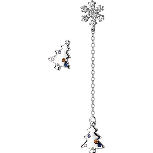 WOZUIMEI S925 Pendientes de Diamantes de Plata Pendientes de Copo de Nieve Asimétricos de Árbol de Navidad para Mujer Pequeños Y Frescos Joyas de Orejaplata, Plata 925