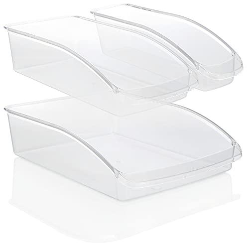 COM-FOUR® 3 pezzi Fridge Organizer Set - Scatole di stoccaggio per l'armadio della cucina - Sistema di organizzazione con 3 contenitori per frigo