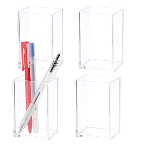 4 Pack Acrylic Pen Holder Clear Pencil Holder Square Organizer Cup Makeup Brush Toothbrush Holder Stationery Organizer Cup Desk Accessories for Office School Home Supplies Accessories