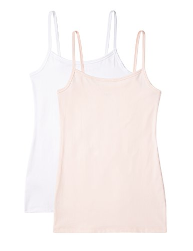 Marca Amazon - IRIS & LILLY Camiseta de Tirantes Body Natural para Mujer, Pack de 2, 1 x Blanco & 1 x Rosa Claro, L, Label: L