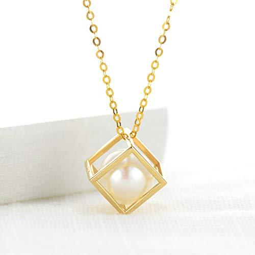HXUJ Cadena de Oro Colgante Cuadrado Perlas de Agua Dulce Collar de Oro de 18 Quilates de Manera Fresco Novia