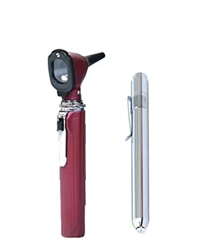 Otoscópio De Led Mikatos + Lanterna Clinica + Case + Pilhas (Vinho)