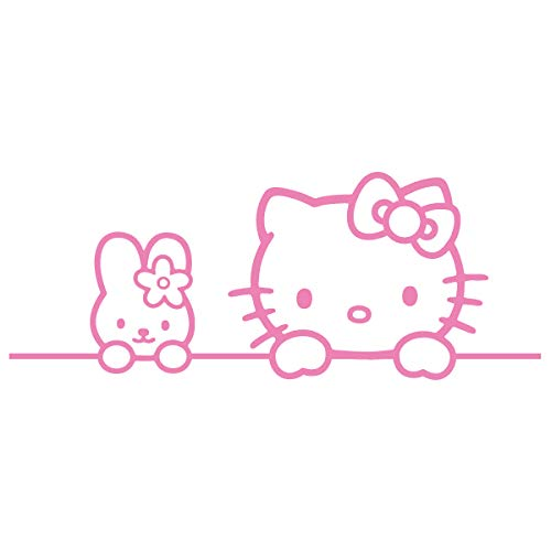 Hello Kitty Bunny Friends Vinyl Decal Sticker (HK-05) (Pink, 13 inches x 5 inches)