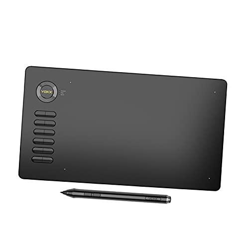 IPOTCH Tabletas gráficas, tabletas de Dibujo de 10 x 6 Pulgadas con lápiz óptico sin batería, compatibles con Windows Mac y Android, para la enseñanza y el - Gris