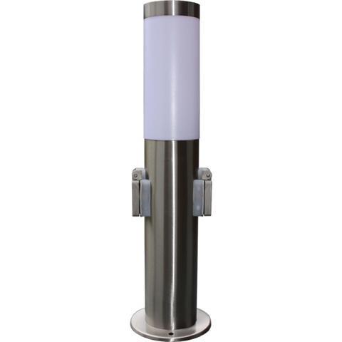Staande tuinlamp van roestvrij staal met 2 stopcontacten staande lamp buitenlamp design