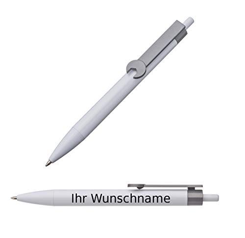 """100x Druckkugelschreiber mit Gravur / """"Schraubenschlüssel"""" / Clipfarbe: grau"""