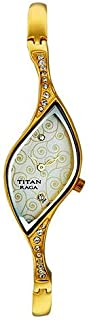 Titan Raga Women's Gold/White Dial Stainless Steel Band Watch - T9710YM01
