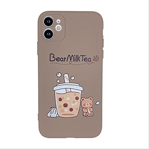 Cute Boba Phone Case para iPhone 11 12 Pro MAX Mini XR X XS MAX 78 Plus SE2020 Luxury Bubble Tea Accesorios de Carcasa de Silicona Suave para iPhone 7 8 Marrón
