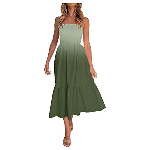 Womens Summer Boho Beach Dress Floral Strapless Flowy Midi Dresses Casual Solid Color Bohemian Dress Green