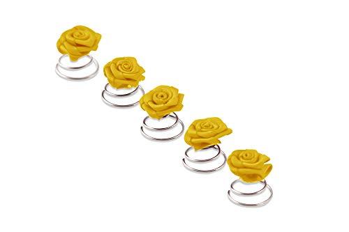 5 x Rosen Curlies - Brauthaarschmuck - Curlie - Haarschmuck | Gelb