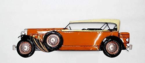 Decohouse - Adorno Vintage Coche Pared Naranja - Cuadros Metal Espejos Retro coleccionista - Regalos Originales - 77x24x3cm