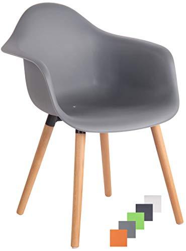 CLP Gartenstuhl Gaffney Mit Kunststoff-Sitzschale I Kunststoffstuhl Mit Rückenlehne I Sitzhöhe Von 45 cm I Metallgestell In Holzoptik Natura, Grau