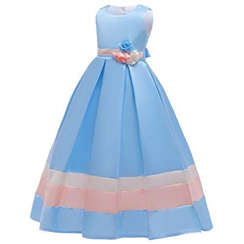 Riou Kinder Mädchen Festkleider Lang Winter Elegant Ärmellos Prinzessin Kleid für Festlich...