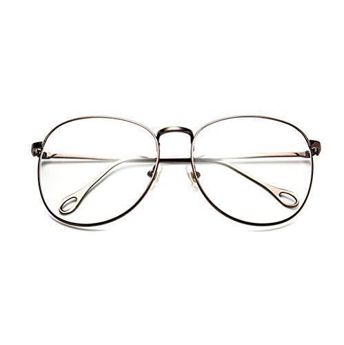 Without Marcos de Gafas Moda Mujeres Gafas Marco Menaje Metal Eyeaglasses Marco Vintage Cuadrado Cuadrado Casado Lente Lente Optical Spectacle Frame Spectacles (Frame Color : Gun)