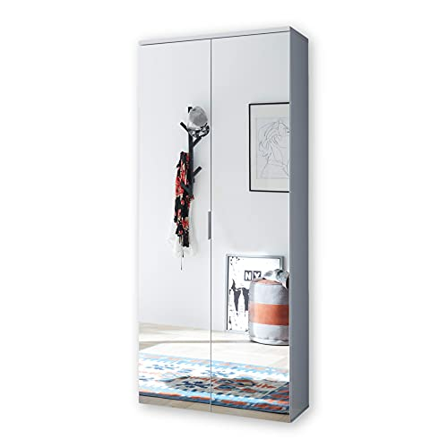 Stella Trading LINCOLN Schuhschrank hoch mit Spiegeltüren, Weiß - Vielseitiger Mehrzweckschrank mit 11 verstellbaren Einlegeböden - 80 x 190 x 35 cm (B/H/T)