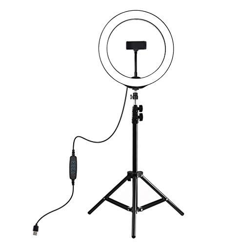 Solustre Kit di Luci Fotografiche Ad Anello Lampada di Riempimento a Led con Supporto a Tre Zampe per Studio Fotografico di Selfie Selfie per Smartphone