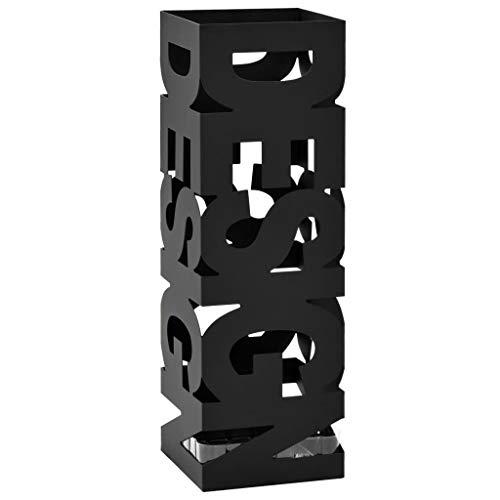 vidaXL Porte-Parapluie Design Acier Noir Support de Parapluies Meuble d'Entrée