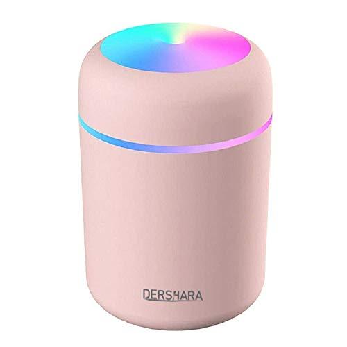 DERSHARA Humidificador Mini - Unidad de humidificación de Primera Calidad con Tanque de Agua de 300ml, Funcionamiento ultrasónico silencioso, Apagado automático y función de luz Nocturna (Rosado)