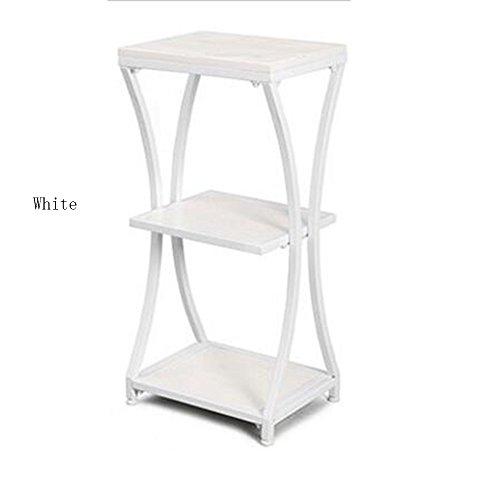 Xiaolin Rétro Fer Art Table D'appoint en Bois Massif Table d'angle Canapé Table Basse Salon Multicouche Tel Support De Rangement D'armoire Support De Fleur en Option Couleur (Couleur : Blanc)