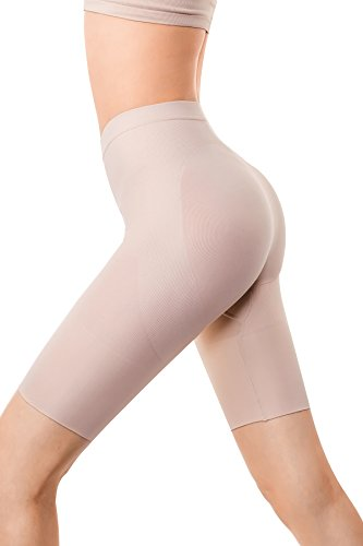 MD Women's Thigh Shapewear High Waist Mid Thigh Shaper Slimmer Power Shorts Small Nude