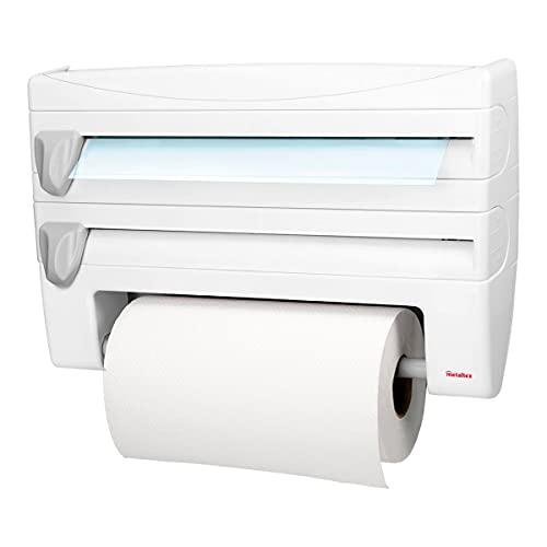 Metaltex 254410 Dispenser portarotolo da cucina Roll-n-Roll 4-in-1, bianco, 39 x 10 x 25 cm.