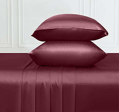 Soft & Silky Cooling Sheets Fabric from 100% Bamboo, Wrinkle Resistant Bamboo King Size Sheets with Deep Pocket Fitted Sheet, Rayon (Burgundy)