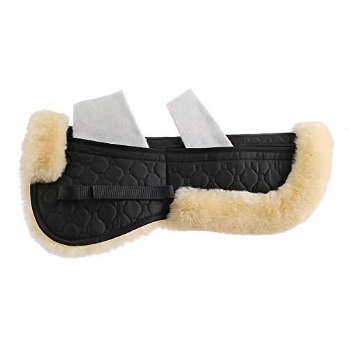 Merauno® echte Lammfell Korrektur Pad Lammwolle Korrekturpad Sattelunterlage Sattelkissen Satteldecken mit Taschen Klettband 4 Stück Falleinsätze enthalten für Pony & Warmblut (L, Schwarz-Natur)