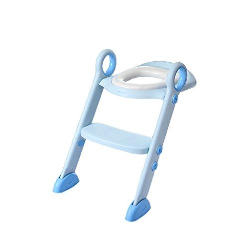 YF BATHROOM YFF-Siège de Toilette pour Tout-Petits Convient pour 2-8 Ans Potty Chaise Souple Portable et Durable Enfants Potty Seat avec Ladder Garçon Fille Pliant Siège De Toilette (Couleur : Bleu)