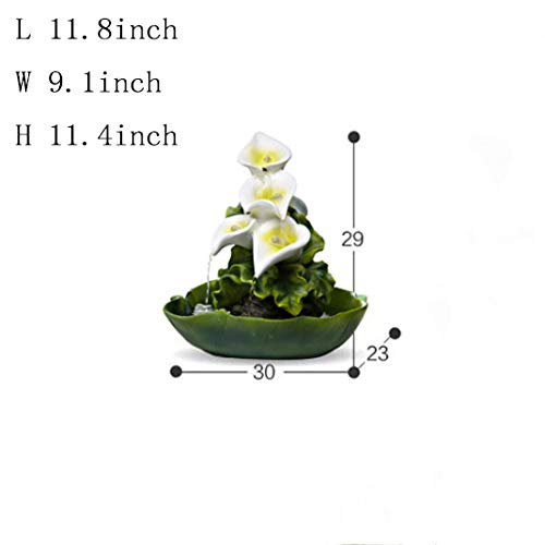 Statues Resin Water Fountain,Fengshui Indoor Decoration Resin Fountain Crafts Desktop Fountain Decoration Feng Shui Fountain Bonsai Waterscape Fountain-Calla Lily 11.8inch