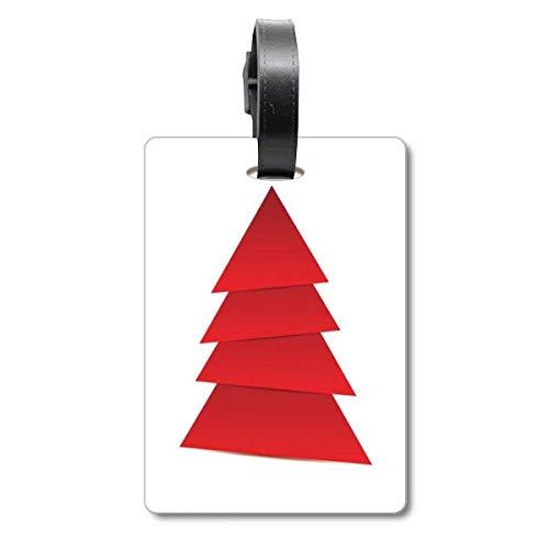 Etiqueta de identificación para Maleta con diseño de árbol de Navidad Abstracto de Origami