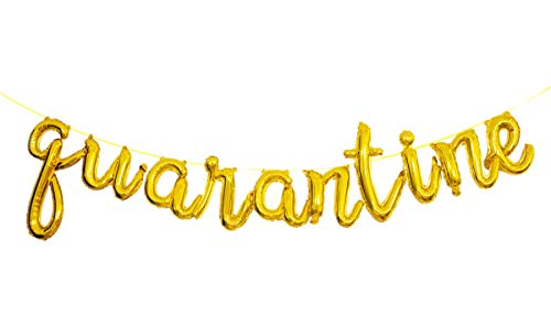 18' Gold Letter Balloon Quarantine Balloons Decorations for Birthday Party, Quarantine Christmas New Year Decor Backdrop Banner…